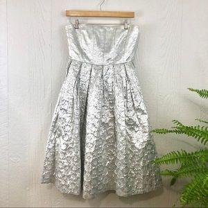 Calvin Klein Silver Metallic Foil Strapless Dress